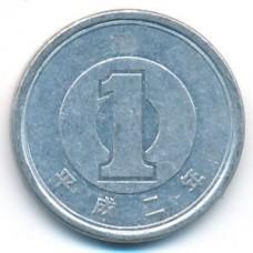 1 иена 1990 год. Япония