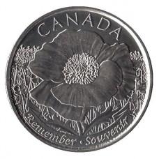 """25 центов 2015 год. Канада. 100 лет стихотворению """"На полях Фландрии""""."""