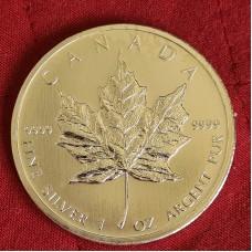 5 долларов 2012 год. Канада. Кленовый лист, серебро 1 oz 999