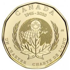 1 доллар 2020 год. Канада. 75 лет ООН