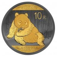 Китай 10 юаней 2015 год. Панда позолоченная. GOLDEN ENIGMA Panda Black Ruthenium