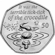 """50 пенсов 2019 год. Остров Мэн. """"Питер Пэн. Крокодил"""""""