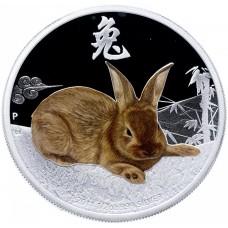 50 центов 2011 год. Острова Кука. Год кролика, лунный календарь, серебро