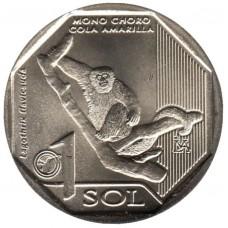 Перу. 1 соль 2019 год. Фауна Перу - Желтохвостая обезьяна.