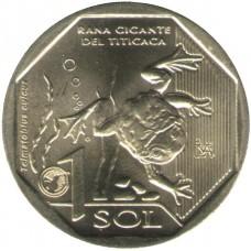 Перу. 1 соль 2019 год. Фауна Перу. Водяная лягушка Титикака.