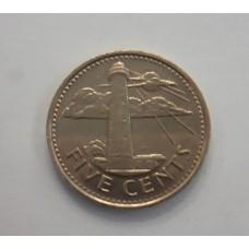 5 центов 2010 год. Барбадос. Маяк