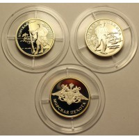 Набор монет. 1 рубль 2005 год. Россия. Морская пехота. (3 шт.) Ag925, 7,78 гр