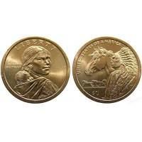 1 доллар 2012 год. США. Сакагавея. Индеец с лошадью (D)