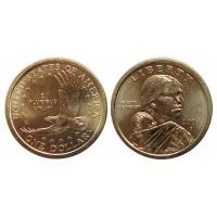 1 доллар 2008 год. Сакагавея. Парящий орел. (P)