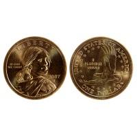 1 доллар 2007 год. Сакагавея. Парящий орел. (D)