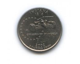 25 центов 2002 год. США. Индиана. (Р)