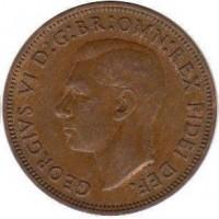 1/2 пенни 1950 год. Великобритания.