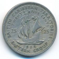25 центов 1955 год. Восточные Карибы