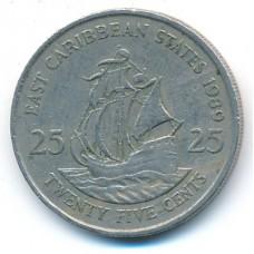 25 центов 1989 год. Восточные Карибы