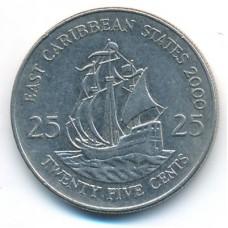 25 центов 2000 год. Восточные Карибы