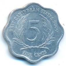 5 центов 2000 год. Восточные Карибы