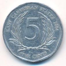 5 центов 2004 год. Восточные Карибы