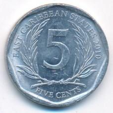 5 центов 2010 год. Восточные Карибы