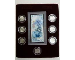 Планшет (222х284х10 мм) для 1 банкноты Сочи-2014 в капсуле и 7 монет Сочи-2014 в капсулах, БОРДОВЫЙ
