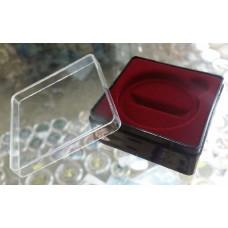 Футляр пластиковый (58х58х22 мм) для одной монеты в капсуле (диаметр 46 мм), бордо.
