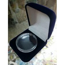 Футляр для одной монеты, медали (диаметр 40 мм, глубина 4 мм), размер 55х60х36 мм, синий
