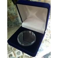 Футляр с низкой крышкой для монеты в капсуле (диаметр 46 мм), размер 92х92х40 мм, синий