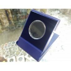 Футляр пластиковый для одной монеты в капсуле (диаметр 46 мм), размер 79х106х16 мм, синий