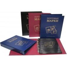 """Альбом для марок с листами """"Почтовые марки"""" (бумвинил,узкий корешок), Оптима."""