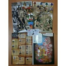 """Альбом-планшет на 14 монет """"Города-Столицы 1941 - 1945 года."""" (в блистерах)"""