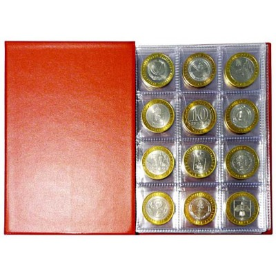 Монетник «Десятка» для монет 110х155 мм, на 96 монеты (12 ячеек 33х33 мм на листе, с клапанами)