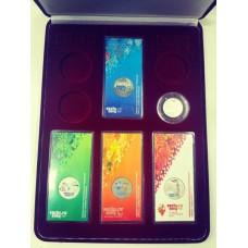 Футляр (220х300х50 мм) для 4 Олимпийских монет Сочи-2014 в блистере и 4 Олимпийских монет Сочи-2014 в капсулах