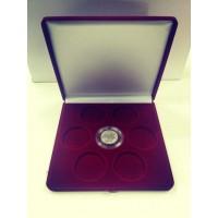 Футляр (191х221х44 мм) на 7 монет в капсулах (диаметр 44 мм), бордовый