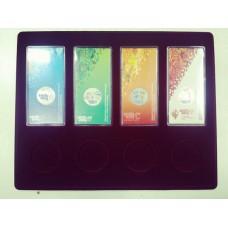 Планшет (222х284х10 мм) для 4 Олимпийских монет Сочи-2014 в блистере и 4 Олимпийский монет Сочи-2014 в капсулах