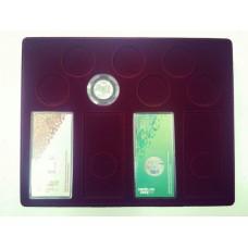 Планшет (222х284х10 мм) для 4 Олимпийских монет Сочи-2014 в блистере и 7 Олимпийских монет Сочи-2014 в капсулах (бордо)