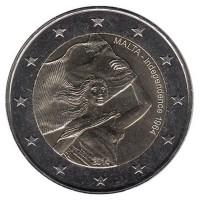 2 евро 2014 год. Мальта. 50 лет независимости.