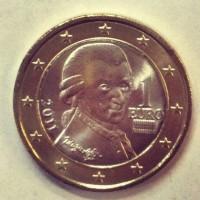 1 Евро 2011 год. Австрия (Портрет Вольфганга Амадея Моцарта)