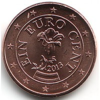 1 евроцент 2013 год. Австрия