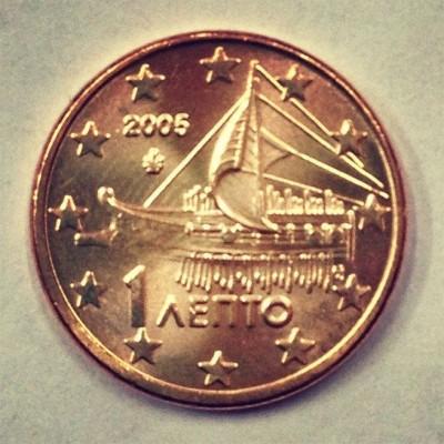 1 евроцент 2005 год. Греция