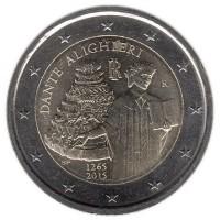 2 евро 2015 год. Италия. 750 лет со дня рождения Данте Алигьери.