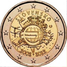 2 евро 2012 год. Словакия. 10 лет наличному обращению евро