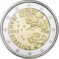 2 евро 2015 год. Финляндия. Ян Сибелиус.