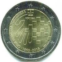 """2 евро 2015 год. Португалия. 150 лет международному движению """"Красный крест""""."""