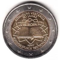 2 евро 2007 год. Германия. 50 лет Римскому договору, двор J