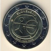 2 евро 2009 год. Словакия. 10 лет Экономическому и валютному союзу.