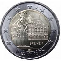 2 евро 2010 год. Германия. Городская ратуша Бремена (J)