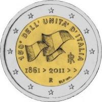 2 евро 2011 год. Италия. 150 лет единства Итальянской Республики.