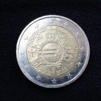 2 евро 2012 год. Германия. 10 лет наличному обращению евро.