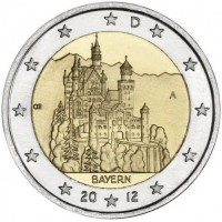2 евро 2012 год. Германия. Замок Нойшванштайн (A)