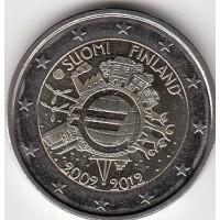 2 евро 2012 год. Финляндия. 10 лет наличному обращению евро.