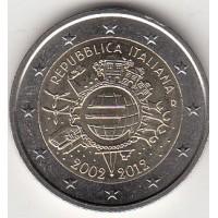 2 евро 2012 год. Италия. 10 лет наличному обращению евро.